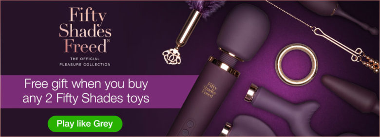 Free gift with any 2 Fifty Shades toys at LoveHoney for Valentine's Day