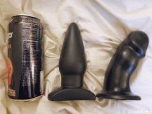 [Image: Tantus Ringo, Vixen Randy, and soda can diameter comparison]