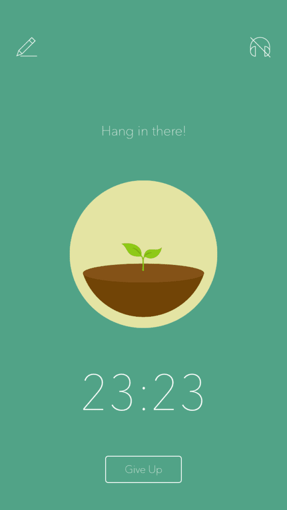 Forest app tree growing with 23:23 minutes left.