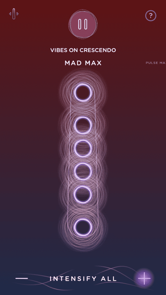 """MysteryVibe Crescendo Android app screenshot. The """"Mad Max"""" vibration pattern on the MysteryVibe Crescendo is basically all 6 motors going at a steady speed at once."""
