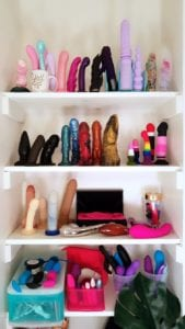 This is my moderately big sex toy collection, featuring mostly dildos and some insertable vibrators. You can re-purpose a bookshelf for storing your sex toys.
