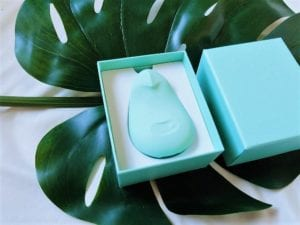 Jade green Pom by Dame Products versatile clitoral vibrator unboxed