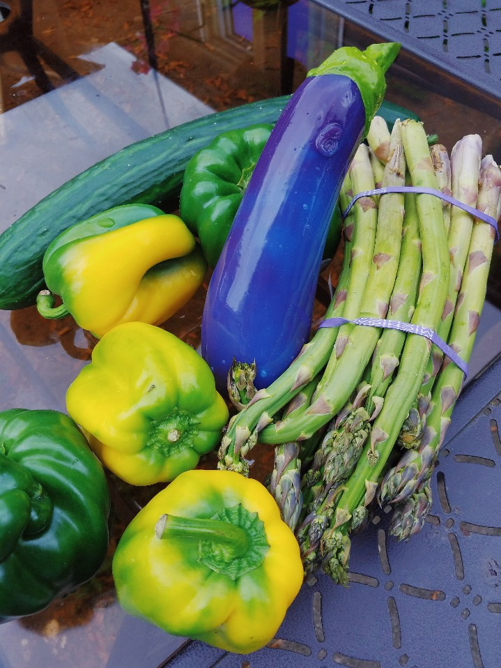 [Image: Self Delve Eggplant dildo amid peppers, asparagus, and a cucumber]