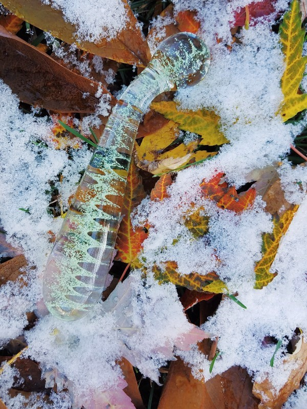 [Image: a side view of the NS G-Spot / A-Spot Glass wand among autumn leaves and snow]