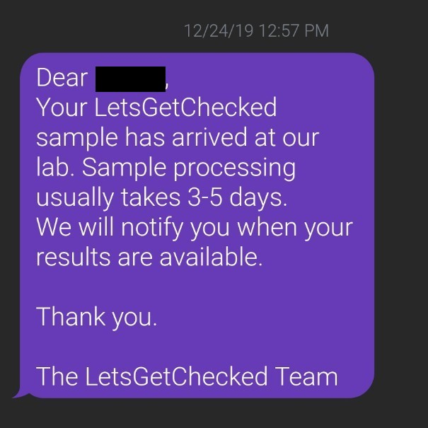 [Image: one of the texts I received from the LetsGetChecked team]