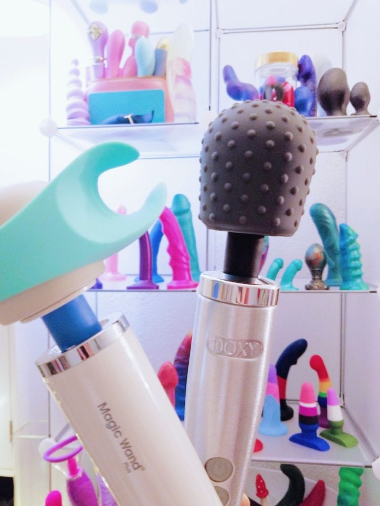 [Image: Magic Wand Plus with We-Vibe Wand Stroker attachment and Doxy Die Cast with Le Wand textured dot cap]